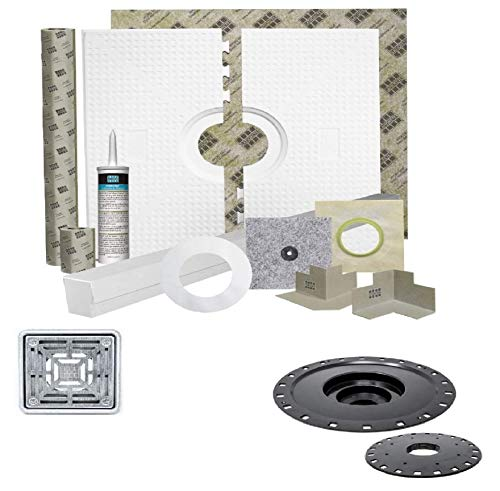 Laticrete HYDRO BAN 9243-3838-CDK Waterproofing Shower Kit 38 inch x 38 inch with 2 inch PVC Bonding Flange and Brushed Stainless Steel 4 inch Grate (2