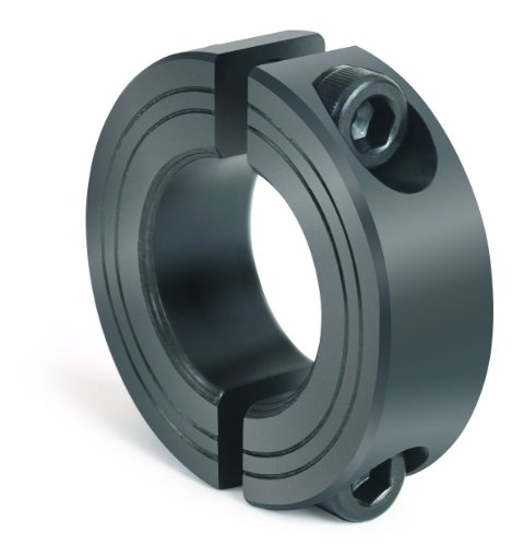 Climax Metal M2C-10 Steel Two-Piece Clamping Collar, Metric, Black Oxide Plating, 10mm Bore Size, 24mm OD, With M3 x 10 Set Screw