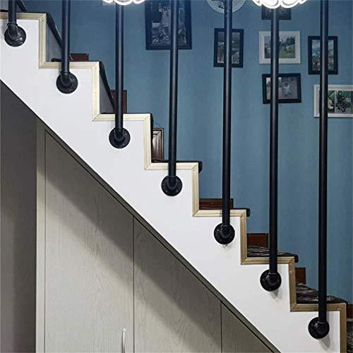 OUG- Rieles de Seguridad para Interiores y Exteriores montados en la Pared tama/ño Personalizable apoyabrazos de Hierro Forjado Negro barandas de Escalera de tuber/ía de Hierro Antideslizante