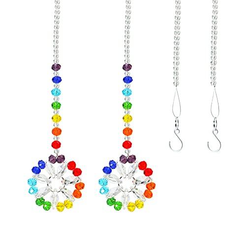 Binghai Colgante de cristal colorido hermosa bola de cristal prisma arco iris Sun Catcher decoración para el hogar ventana fiesta