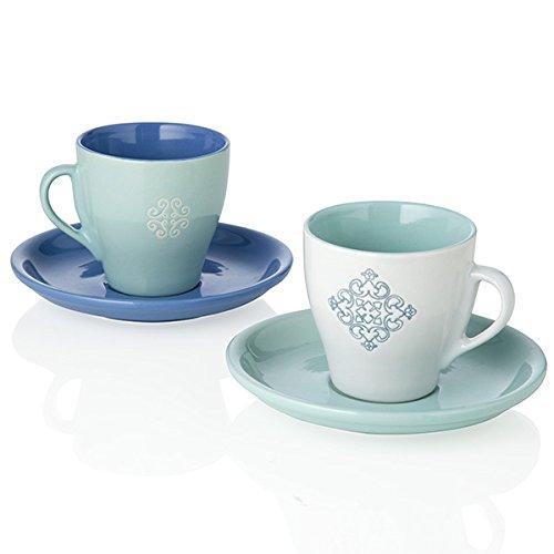 Brandani 54512 Panarea Stoneware - Juego de tazas de café (2 unidades), color blanco
