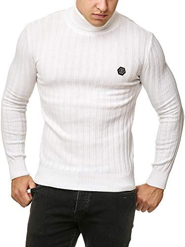 Red Bridge Herren RIPP Rollkragen Pullover Sweatshirt Strickpullover Weiß XL