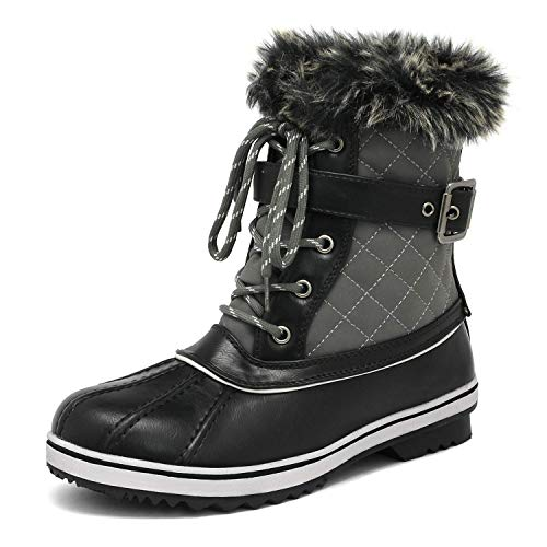 DREAM PAIRS Women's River_3 Grey Mid Calf Winter Snow Boots Size 8 M US