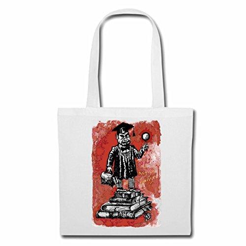Tasche Umhängetasche Einstein Vintage Menschen PENIBEL Lupe DOKTOR Lifestyle Fashion Street WEAR Hiphop Legendary Salsa Einkaufstasche Schulbeutel Turnbeutel in Weiß