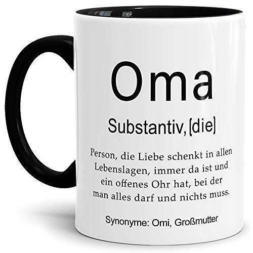 Tassendruck Tasse mit Definition Oma - Wörterbuch/Geschenk-Idee/Dictionary/Beruf/Job/Arbeit/Familie/Innen & Henkel Schwarz