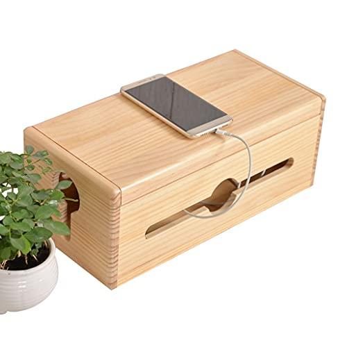 JIE KE Multifunción Caja de Almacenamiento de Enchufe de enrutador de Gran Capacidad Multifuncional Buen Agujero de Salida de Aislamiento (Color : Wood Color, Size : 38 * 15 * 18CM)