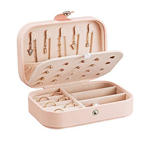 ZOCONE Piccolo Portagioie da Viaggio Scatola, 2 Strati Portable Jewelry Box per Orecchini, Anelli, Collane, Braccialetti, 16.5 * 11.5 * 5.5cm (Rosa)