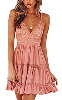 ECOWISH Womens V-Neck Spaghetti Strap Bowknot Backless Sleeveless Lace Mini Swing Skater Dress Pink-1 Small