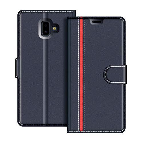 COODIO Handyhülle für Samsung Galaxy J6 Plus Handy Hülle, Samsung Galaxy J6 Plus Hülle Leder Handytasche für Samsung Galaxy J6 Plus 2018 Klapphülle Tasche, Dunkel Blau/Rot