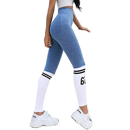 Y-H-X Leggings de Cintura Alta para Las Mujeres Soft Pitmy Control Estiramiento Atlético Running Entrenamiento Pantalones de Yoga,Azul,S