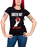 Green Day T Shirt American Idiot Heart Oficial Mujeres Skinny Fit Negro