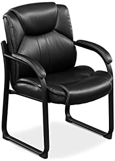 Officient Omega Collection Oversized Guest Chair in Black Faux Leather with Black Frame