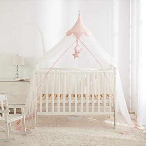 Mosquito Net for Baby Bed, Bed Canopy for Crib, Hanging Crib Netting with Moveable Bracket, Indoor Outdoor Play Tent, Pink