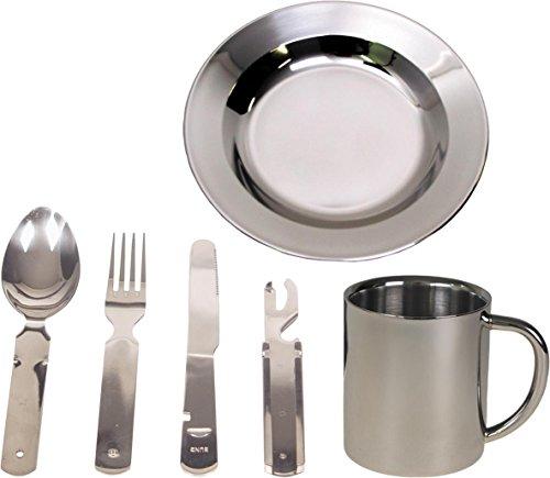 normani Camping Edelstahl Geschirrset Besteck + Teller + Tasse Farbe Silver