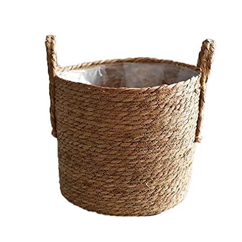 TOPofly Hecho a Mano de Almacenamiento de Paja Tejido de Cesta de Mimbre Rattan Planter Basket...