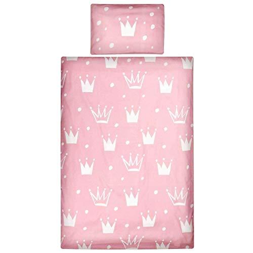 Aminata Kids Kinderbettwäsche 100-x-135 Mädchen Baumwolle Prinzessin rosa, weiß - Kinder-Bettwäsche-Set mit Reißverschluss - Krone Kronen