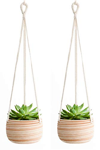 Mkono Ceramic Hanging Planter Macrame Plant Holder 5 Inch Cute Succulent Cactus Pot with Cotton Rope Hanger for Indoor Outdoor Decor, 2 Pack