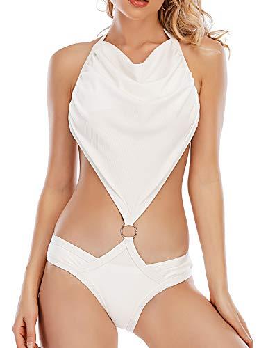 GALEBOVA Costume da Bagno Intero da Donna per Il Controllo della Pancia Monokini Bikini (Bianco, M)