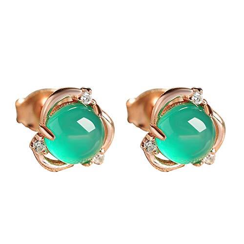 Ruby569y Pendientes colgantes para mujeres y niñas, pendientes de jade sintético con incrustaciones de flor chapada en plata, regalo de fiesta, color verde