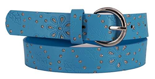 EANAGO Kindergürtel 'Starlight Blue' für Mädchen (Kindergarten und Grundschulkinder, 5-10 Jahre, Hüftumfang 57-72 cm), Gürtelmaß 65 cm, blau mit Glitzersteinchen und Prägemuster