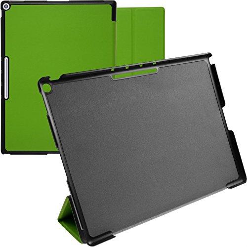 PhoneNatic Kunst-Lederhülle kompatibel mit Google Pixel C - Tri-Fold grün + 2 Schutzfolien
