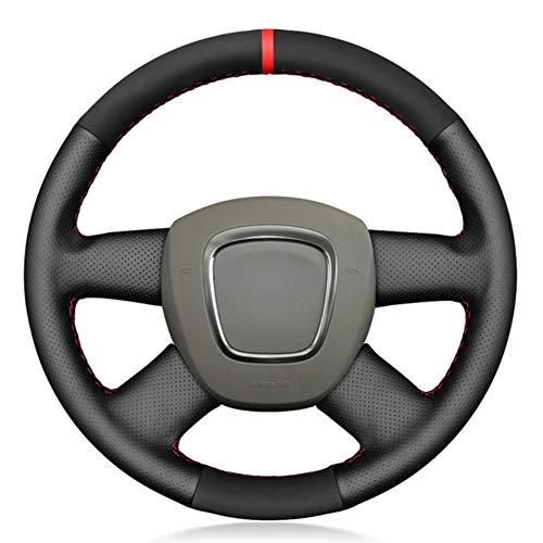 YHDNCG Cubierta de Volante de Cuero Negro Cosido a Mano, para Audi A3 (8P) Sportback A4 (B8) A4 (B7) A6 (C6) Avant 4-Habla