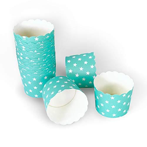 Frau WUNDERVoll® 50 MUFFIN BACKFORMEN TÜRKIS, WEISSE STERNE Durchmesser 6,1 cm/Muffinbackform, Muffinform, Backformen, Backförmchen, Cupcake Formen, Muffin Förmchen Papier