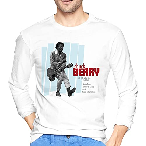 COOTHING Chuck Berryt Shirt Mens Long Sleeve Round Neck Comfortable Cotton Tee White
