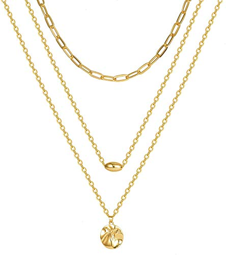 Adramata Gold Layered Pendant Necklace, Dainty Coin Pendant Multilayer Choker Chain Necklaces Set for Women