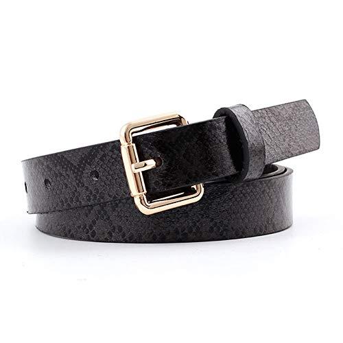 Huaheng Vrouwen PU Lederen Slang Print Taille Riem Dames Jurk Jeans met Gesp Black snake print