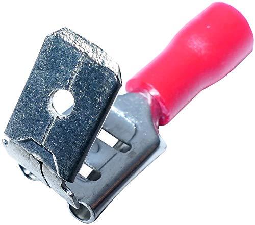 AERZETIX - Set di 100 - Capicorda terminali doppio - Maschio/Femmina - 6.3mm - Piatti - Isolati - Connettore per cavi elettrici - per crimpare - 0.25-1.5mm² - Rosso - C44924