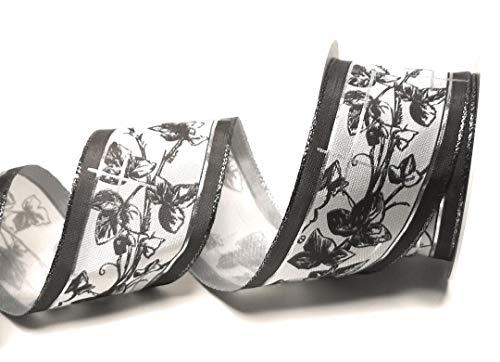 Trauerband 10m x 60mm Silbergrau TRAUERKREUZ Dekoband Schleifenband Trauerschleife [6255-130]