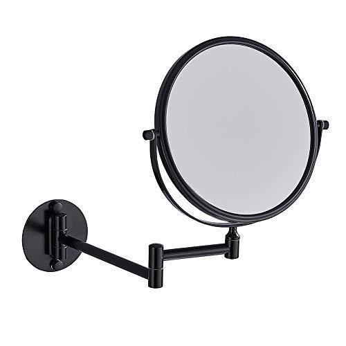3x Vergrößerungsspiegel für bad,um 360° schwenkbarer Kosmetikspiegel,NEWRAIN wandmontierter runder Badezimmer-Rasierspiegel, Ø 20cm,doppelseitig,mit Klapparm,ausziehbar, aus Edelstahl,schwarz