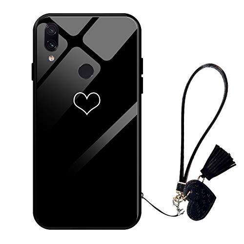 Suhctup Compatible pour Xiaomi Redmi Note 7 Coque Verre Trempé Dure avec Cordon Étui Mignon Motif Design Rigide Housse Cadre en TPU Anti-Rayures Antichoc Protection Cover,Amour 5