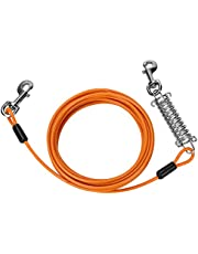 Cable para Atar Perros Upkey 20ft Cable de Amarre para Perros Amarre para Mascotas Cable para Atar al Perro en Exteriores Cordón para Mascotas de Dos Cabezas Correa para Cachorros Medianas (Naranja)