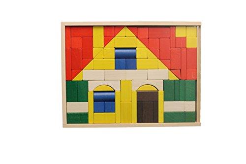 Baukasten Haus – Bausteine – Bauklötze – Holzsteine – Holzspielzeug aus dem Erzgebirge – 83 Teile – NEU