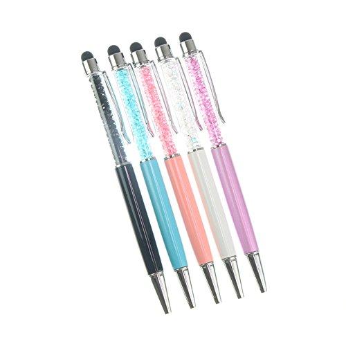 5 Stück Kristalle Diamanten Strass Stift,Eingabestift und Kugelschreiber Eingabestift des Stylus kapazitiv 2 in 1 für Bürobedarf Schule Schreibwaren,0.7mm, Schwarz
