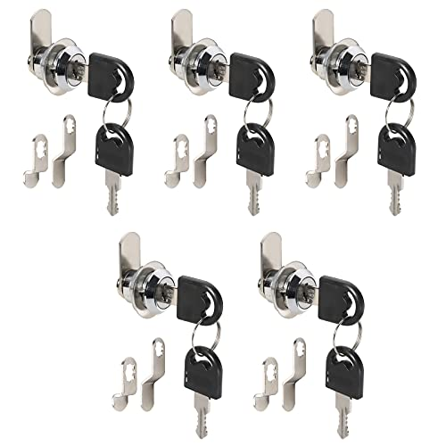 KNOKLOCK Cabinet Cam Lock Set with Key,5/8 Inch Cylinder Lock Security Drawer Door Mailbox Lock,Chrome-Finish Zinc Alloy,Pack of 5