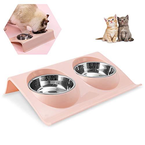 Comedero para Perros Gato Mascotas De Acero Inoxidable, Comedero Perros con Doble Cuenco De Acero Inoxidable Y Base Antideslizante Sistema De PrevencióN De Derrames, para Perros Y Mascotas, Rosa
