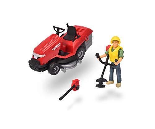 Dickie Toys 203832002 Lawn Mower Playlife Set, Rasenmäher Honda Spielfigur, Korb zum Öffnen, bewegliches Mähwerk, mit Rasentrimmer und Laubbläser, inkl. Batterien, 12,5 cm, ab 3 Jahren, Blau