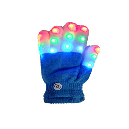 Museourstyty Handschuhe für Kinder, LED, blinkende Finger, klein, 6 Modi, blinkende LED, warm, gestrickt merhfarbig