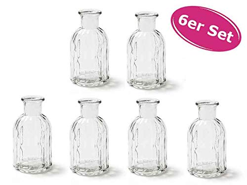 itsisa Kleine Vase Norinne XS, Kleine Glasvase, 6er Set - Glasflasche, Tischdekoration, Glasvasen, Landh