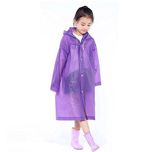 Acamifashion Children Raincoat Kids Impermeable Cover Poncho Rainwear Waterproof Hooded Capa - Purple