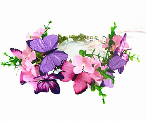 Pink Flowers and Butterflies Flower Girls Headband Hair Wreath Floral Garland Crown Headpiece
