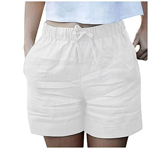 Liably Pantalones cortos de verano para mujer, de lino, cintura elástica, bolsillos, pantalones cortos, holgados, cómodos, modernos y informales, pantalones cortos de deporte Blanco L