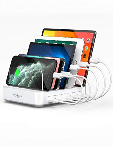 Charging Station, Vogek 5-Port 50W 10A USB Charging Station for Multiple Devices with 8 Short Mixed Cables for Cell Phones, iPhone,Tablets, Not Includ Iwatch & Airpod Stand - White