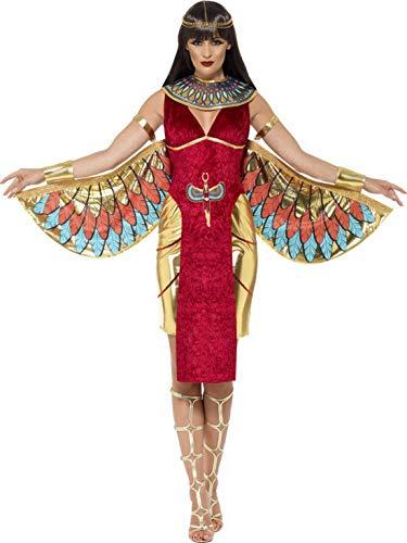Luxuspiraten - Damen Frauen ägyptische Göttinen Kostüm mit Kleid, Flügel, Kargen und Kopfschmuck, perfekt für Karneval, Fasching und Fastnacht, S, Rot