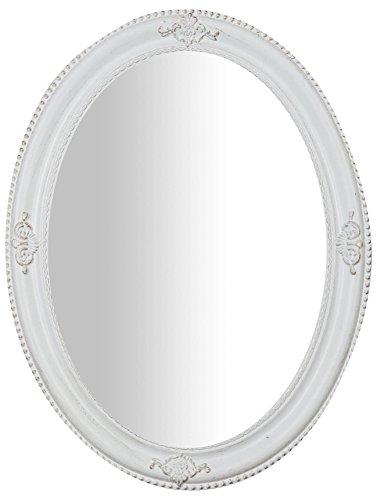 Biscottini Specchio, Specchiera Ovale da Parete, da Appendere al Muro Orizzontale Verticale, Shabby Chic, Trucco, Bagno, Cornice Finitura Colore Bianco Anticato, L64xPR3xH84 cm. Stile Shabby Chic.