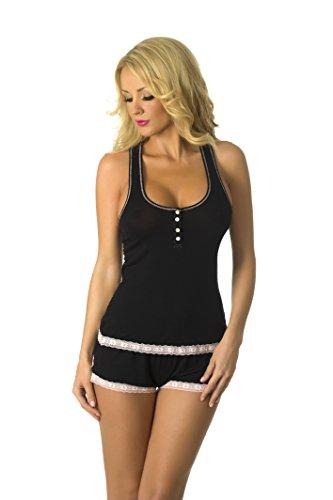 Velvet Kitten Sweetness Short Sexy PJ Camisole Set Pajama Sleep Shirt Sleepwear (Black/Pink, X-Large)