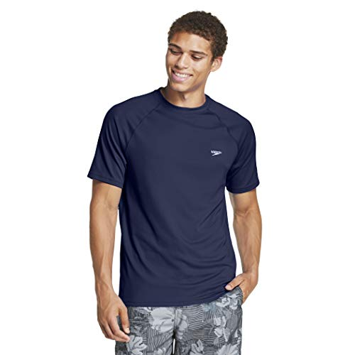 Speedo Men's Uv Swim Shirt Short Sleeve Regular Fit Solid